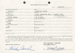 DIRTY HARRY MOVIE CAST - ONE DAY MOVIE CONTRACT SIGNED 09/16/1971 CO-SIGNED BY: NESSA HYAMS, BILL COUCH