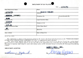 MAME MOVIE CAST - ONE DAY MOVIE CONTRACT SIGNED 01/26/1973 CO-SIGNED BY: NESSA HYAMS, SHARON UGLAND