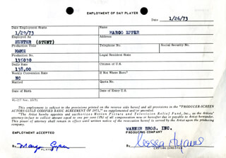 MAME MOVIE CAST - ONE DAY MOVIE CONTRACT SIGNED 01/26/1973 CO-SIGNED BY: NESSA HYAMS, MARGO EPPER