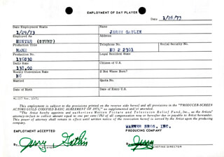 JERRY GATLIN - ONE DAY MOVIE CONTRACT SIGNED 01/26/1973
