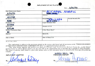 MAME MOVIE CAST - ONE DAY MOVIE CONTRACT SIGNED CO-SIGNED BY: NESSA HYAMS, MICHAEL NORELL