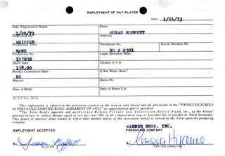 MAME MOVIE CAST - ONE DAY MOVIE CONTRACT SIGNED 01/26/1973 CO-SIGNED BY: NESSA HYAMS, SUSAN MOFFATT