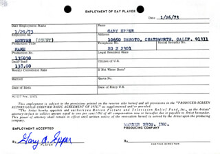 GARY A. EPPER - ONE DAY MOVIE CONTRACT SIGNED 01/26/1973