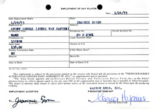 MAME MOVIE CAST - ONE DAY MOVIE CONTRACT SIGNED 01/26/1973 CO-SIGNED BY: NESSA HYAMS, JEANNIE EPPER