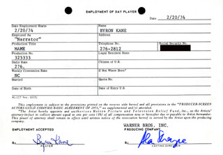 MAME MOVIE CAST - ONE DAY MOVIE CONTRACT SIGNED 02/20/1974 CO-SIGNED BY: BYRON KANE, ALAN SHAYNE
