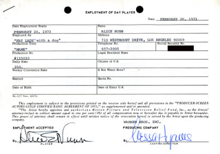 MAME MOVIE CAST - ONE DAY MOVIE CONTRACT SIGNED 02/28/1973 CO-SIGNED BY: NESSA HYAMS, ALICE NUNN