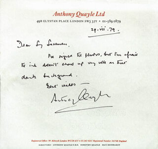 SIR ANTHONY QUAYLE - AUTOGRAPH LETTER SIGNED 07/29/1979