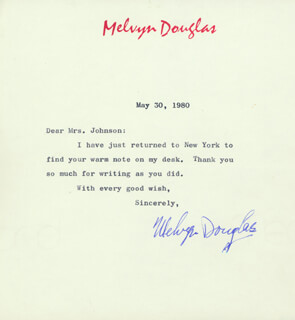 MELVYN DOUGLAS - TYPED LETTER SIGNED 05/30/1980
