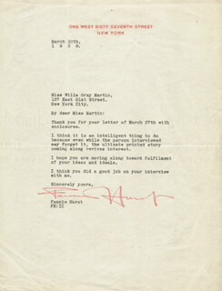 FANNIE HURST - TYPED LETTER SIGNED 03/30/1939