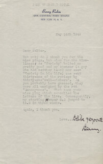 BENNY RUBIN - TYPED LETTER SIGNED 05/24/1949
