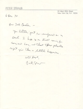 PETER STRAUB - AUTOGRAPH LETTER SIGNED 12/06/1990