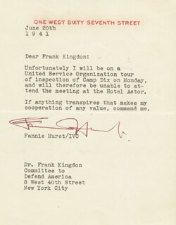 FANNIE HURST - TYPED LETTER SIGNED 06/20/1941
