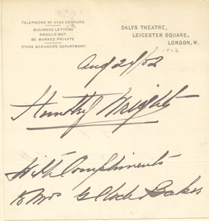 HUNTLEY WRIGHT - AUTOGRAPH NOTE SIGNED 08/24/1902