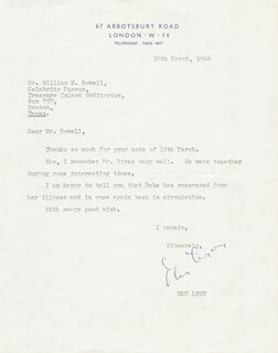 BEN LYON - TYPED LETTER SIGNED 03/30/1966