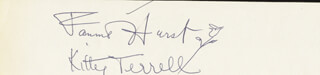 FANNIE HURST - AUTOGRAPH CO-SIGNED BY: KITTY TERRELL