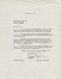 TOM KEENE - TYPED LETTER SIGNED 11/12/1941