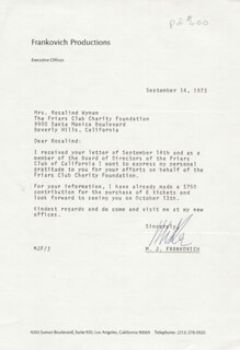 M. J. FRANKOVICH - TYPED LETTER SIGNED 09/14/1973