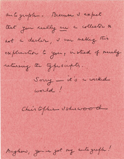 CHRISTOPHER ISHERWOOD - AUTOGRAPH LETTER SIGNED 5/7