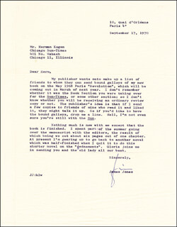 JAMES JONES - TYPED LETTER SIGNED 09/17/1970