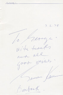 GARSON KANIN - AUTOGRAPH NOTE SIGNED 07/02/1978