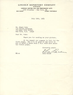ELIA KAZAN - TYPED LETTER SIGNED 07/19/1963