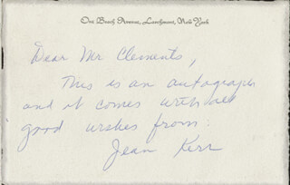 JEAN KERR - AUTOGRAPH NOTE SIGNED