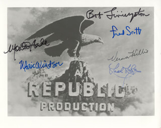 REPUBLIC PICTURES - AUTOGRAPHED SIGNED PHOTOGRAPH CO-SIGNED BY: MONTE HALE, MARIE WINDSOR, LASH LA RUE, ROBERT LIVINGSTON, VERNA HILLIE, FRED L. THE SINGING BUCKAROO SCOTT