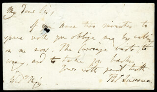 THOMAS LAWRENCE - AUTOGRAPH LETTER SIGNED
