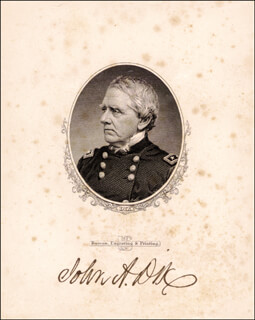 MAJOR GENERAL JOHN A. DIX - ENGRAVING SIGNED