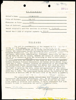 AUDIE MURPHY - DOCUMENT SIGNED 11/12/1954