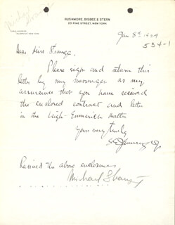 MICHAEL (BLANCHE OELRICHS) STRANGE - RECEIPT SIGNED 01/08/1929