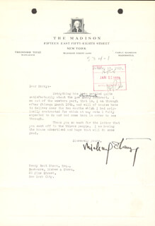 MICHAEL (BLANCHE OELRICHS) STRANGE - TYPED LETTER SIGNED 01/19/1929 CO-SIGNED BY: HENRY ROOT STERN
