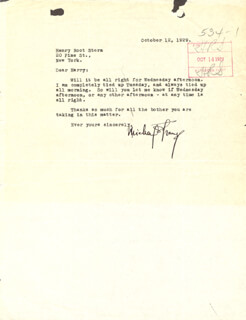 MICHAEL (BLANCHE OELRICHS) STRANGE - TYPED LETTER SIGNED 10/12/1929 CO-SIGNED BY: HENRY ROOT STERN