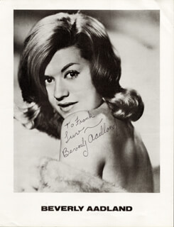 Autographs: BEVERLY AADLAND - INSCRIBED PHOTOGRAPH SIGNED