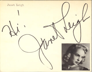 JANET LEIGH - AUTOGRAPH SENTIMENT SIGNED