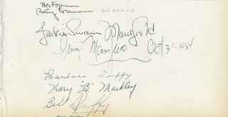 JACQUELINE SUSANN - AUTOGRAPH 10/03/1954 CO-SIGNED BY: BOB FOREMAN, BETTY FOREMAN, BARBARA DUFFY, BILL DUFFY, IRVING MANSFIELD