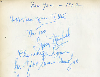 JACQUELINE SUSANN - AUTOGRAPH NOTE SIGNED 1952 CO-SIGNED BY: IRVING MANSFIELD, ALFRED W. SCHWALBERG, CARMEL MYERS