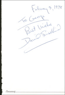DAVID SUSSKIND - AUTOGRAPH NOTE SIGNED 02/03/1978