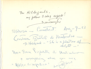 DEEMS TAYLOR - AUTOGRAPH NOTE SIGNED 1953 CO-SIGNED BY: PRINCESS CONSTANCE (DUCHESS DI MONTECALVO) GUIDO PIGNATELLI, MARIA ELENA PIGNATELLI, SALVATORE GIOE