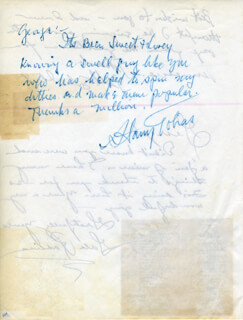 HARRY TOBIAS - AUTOGRAPH NOTE SIGNED CO-SIGNED BY: GALE ROBBINS
