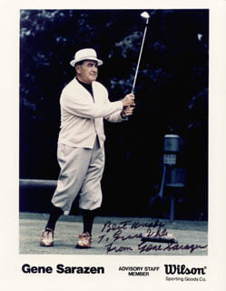 GENE SARAZEN - AUTOGRAPHED INSCRIBED PHOTOGRAPH