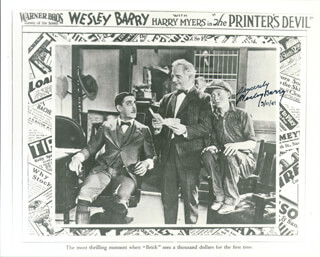 WESLEY BARRY - AUTOGRAPHED SIGNED PHOTOGRAPH 03/11/1981