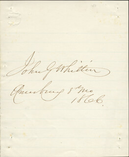 JOHN GREENLEAF WHITTIER - AUTOGRAPH 8/1866