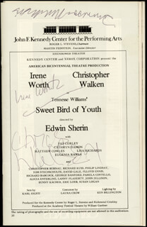SWEET BIRD OF YOUTH BROADWAY CAST - SHOW BILL SIGNED 10/1975 CO-SIGNED BY: CHRISTOPHER WALKEN, TENNESSEE WILLIAMS, IRENE WORTH