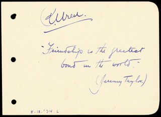 PERCIVAL CHRISTOPHER WREN - AUTOGRAPH QUOTATION SIGNED CIRCA 1934