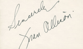 FRAN ALLISON - AUTOGRAPH SENTIMENT SIGNED