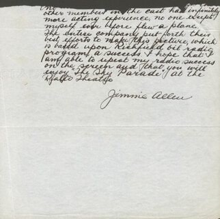 THE AIR ADVENTURES OF JIMMIE ALLEN - AUTOGRAPH LETTER FRAGMENT SIGNED IN CHARACTER