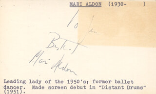 MARI ALDON - INSCRIBED SIGNATURE
