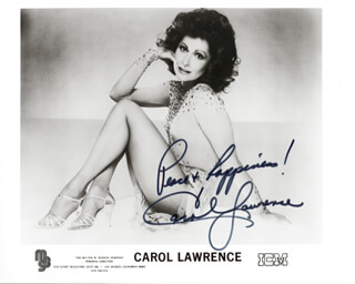 CAROL LAWRENCE - PRINTED PHOTOGRAPH SIGNED IN INK