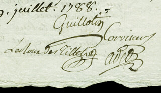 Autographs: JOSEPH-IGNACE GUILLOTIN - MANUSCRIPT DOCUMENT SIGNED 07/19/1788 CO-SIGNED BY: JEAN-NICOLAS CORVISART, PIERRE AUGUSTE ADET, PIERRE LOUIS LEZURIER, JEAN-JACQUES LE ROUX DE TILLES